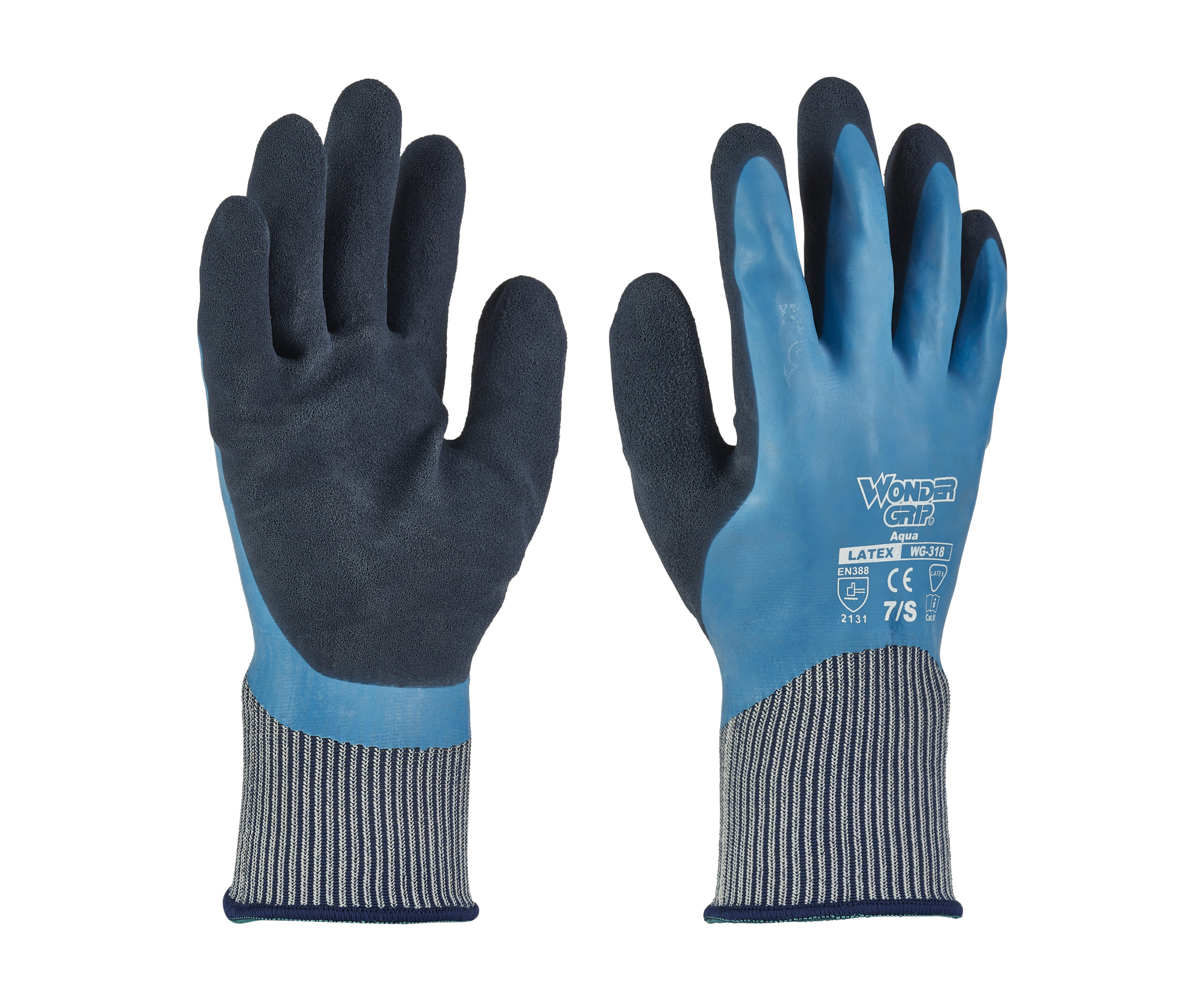 Wonder Grip Waterproof Gloves Aqua Latex Fully Coated Nylon Blue WG-318
